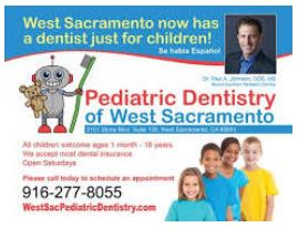 Dentist ad: West Sacramento now has a dentist just for children!  - Se habla español. - Pediatric Dentistry of West Sacrmaento 916-277-8055